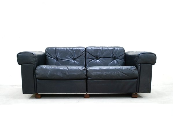 Black Leather Two-Seater Sofa from De Sede, 1970