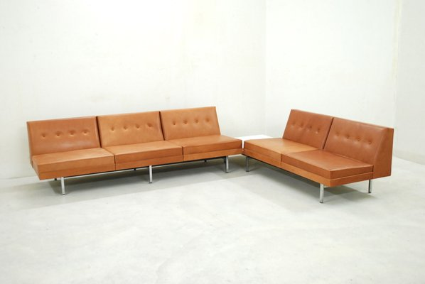 Cognac Leather Modular Sofa Set By George Nelson For Herman Miller 1968