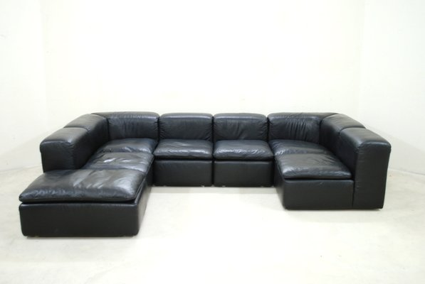 low priced 36f89 0c489 Modular Black Cube Design WK 550 Leather Sofa by Ernst Martin Dettinger for  WK Möbel