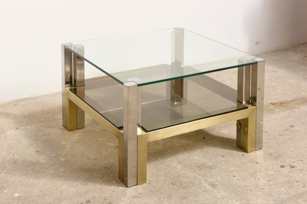 Two Tiered Brass U0026 Glass Coffee Table By Willy Rizzo, ...