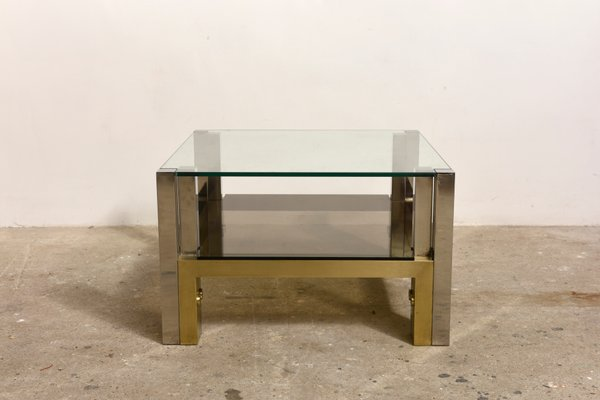 Two Tiered Brass Glass Coffee Table By Willy Rizzo 1960s For Sale