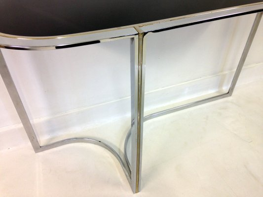 Vintage Chrome U0026 Black Glass Console Table 5