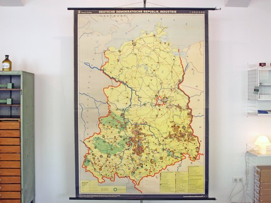 Map Of Germany For Sale.Vintage School Map Of Industry In East Germany