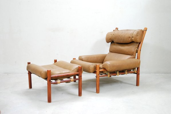 Inca Lounge Chair Ottoman By Arne, Arne Norell Inca Chair