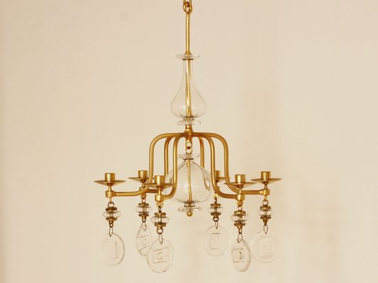 Large mid century gilded iron glass candle chandelier by erik large mid century gilded iron glass candle chandelier by erik hglund for kosta 2 aloadofball Images