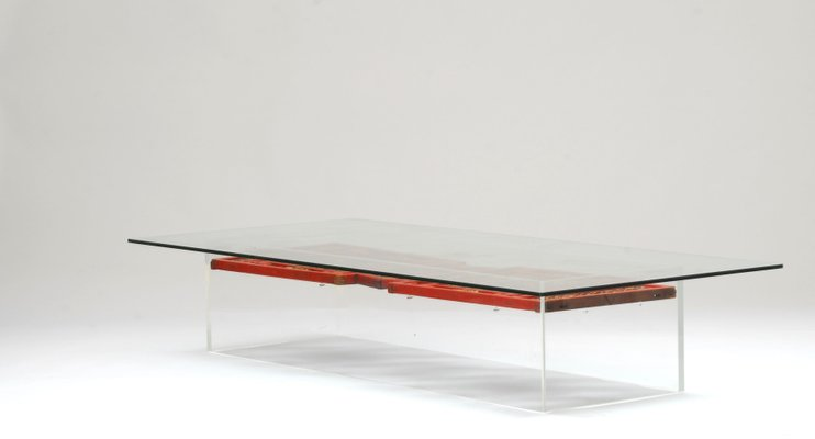Lucite Coffee Table With Antique Chinese Panels 1