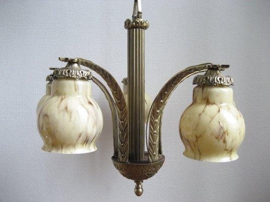Französische art deco lampe mit fünf marmorlampenschirmen er