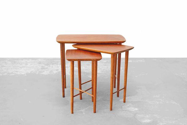 Mid Century Danish Teak And Oak Nesting Tables, 1960s 1