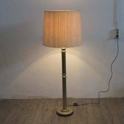 Messing Stehlampe Mit Lampenschirm Aus Stoff 1960er Bei Pamono Kaufen
