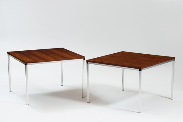 Vintage German Rosewood Chrome Side Tables