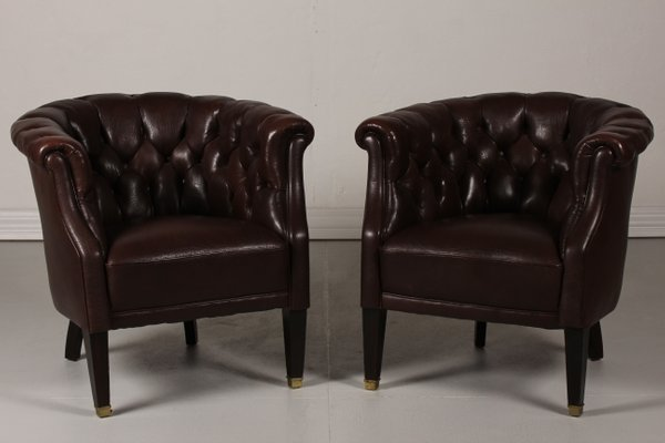 Danish Chesterfield Style Dark Brown Leather Armchairs 1920s Set Of 2 1