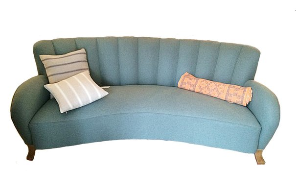 Swedish Art Deco Curved Back Flannel Sofa 1
