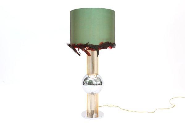 Lampada da tavolo con paralume di piume italia in vendita su pamono