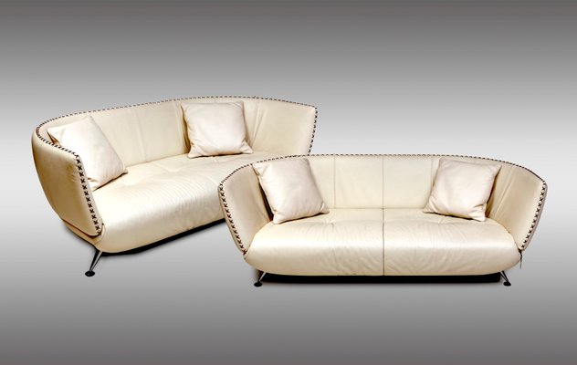 Swiss Ivory Leather Sofas From De Sede, 1980s, Set Of 2 1