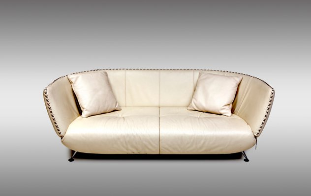 Swiss Ivory Leather Sofas From De Sede, 1980s, Set Of 2 3