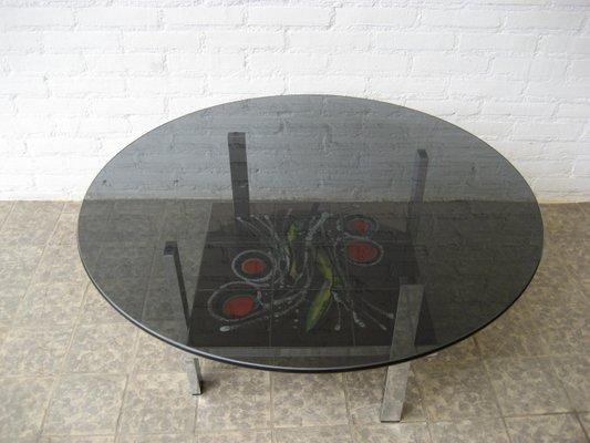 Tavolino da caffè vintage in vetro e mattonelle belgio anni