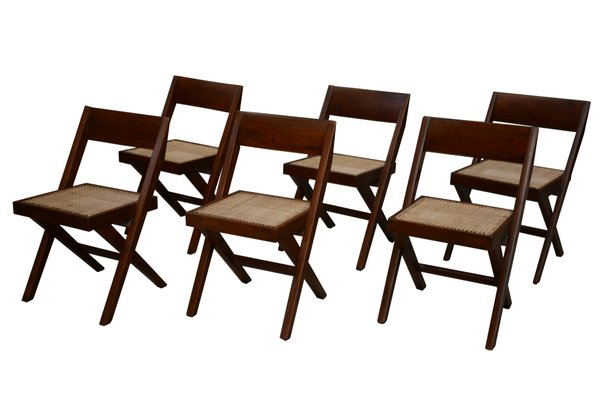 Library Chairs By Pierre Jeanneret, 1959, Set Of 6 1