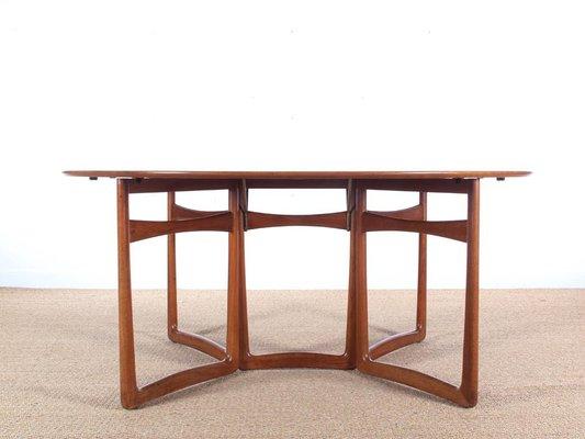 Mesa de comedor plegable 20/59 Mid-Century moderna de teca de Hvidt ...