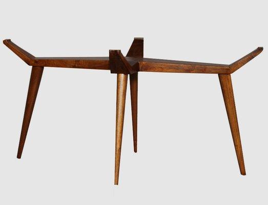 Tavolo ovale Mid-Century in cristallo e legno di G.L Giordani, Italia, anni  \'50