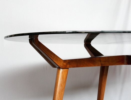 Mid Century Italian Crystal And Wood Oval Table By G L Giordani 1950s 3