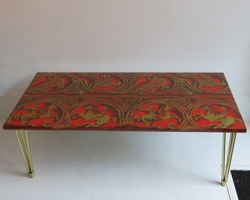 Italian Red Lacquered Linen And Gold Coffee Table 1950s