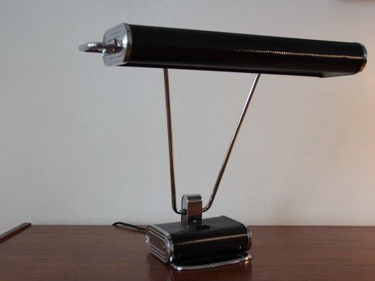 Lampe de bureau art déco en chrome noir par eileen gray pour jumo