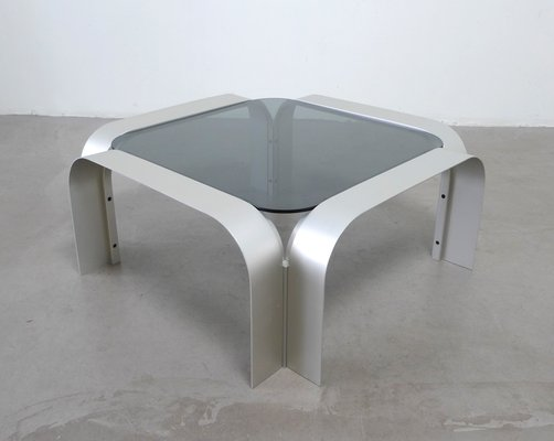 Square Aluminium Coffee Table With Tinted Gl 1970s 1