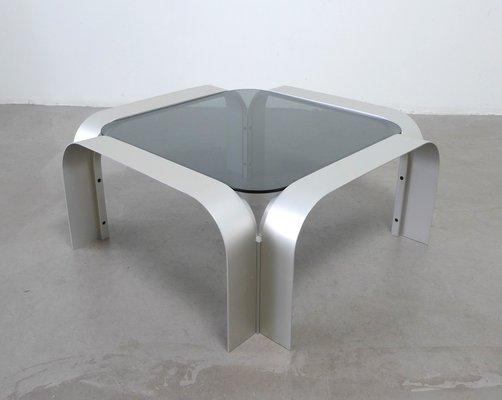 Table Basse Carrée En Aluminium Avec Verre Teinté 1970s En Vente