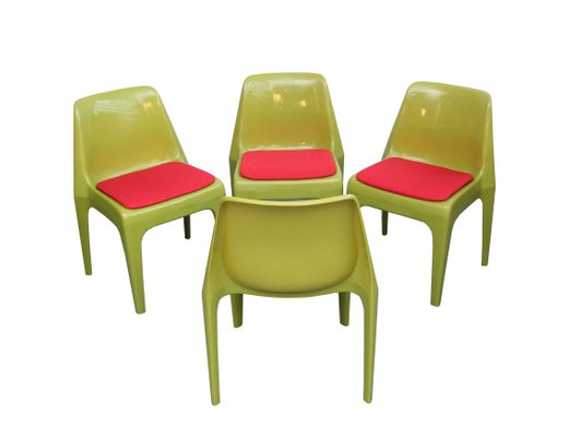 Sedie Verdi Di Plastica.Sedie In Plastica Rosse E Verdi Germania Anni 70 Set Di 4 In