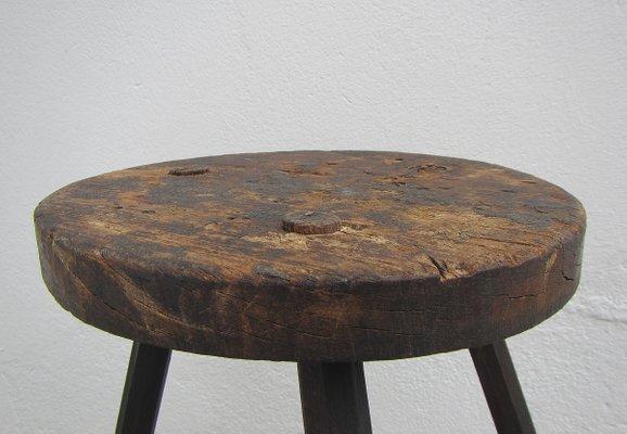 Sgabello a tre gambe industriale in legno belgio anni in