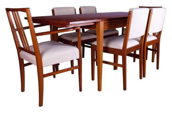 British Tulip Wood Dining Table And Chairs By Gordon Russell 1960s Set Of 7