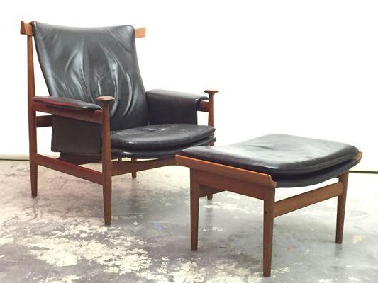 danish bwana chair with ottoman by finn juhl for france son 1960s