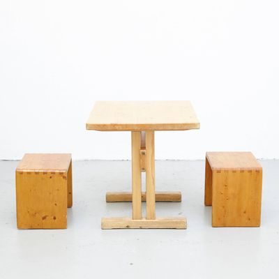 Mid Century Table Stools By Charlotte Perriand For Les Arcs 1
