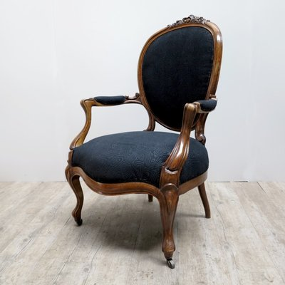 Etonnant French Armchair With Black Upholstery, 1880s 1