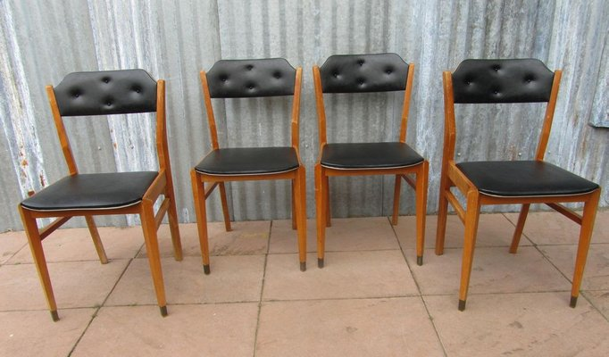 Astonishing Mid Century Black Vinyl Dining Chairs Set Of 4 Gmtry Best Dining Table And Chair Ideas Images Gmtryco
