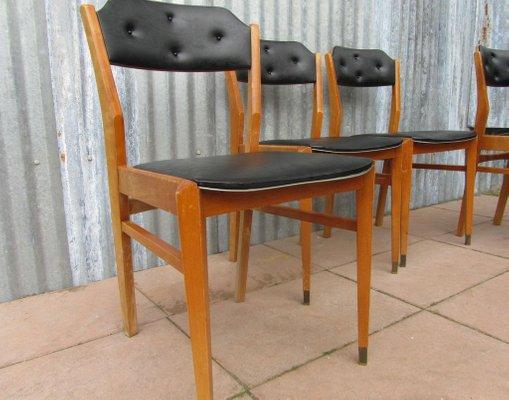 Mid Century Black Vinyl Dining Chairs Set Of 4