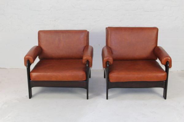 Mid Century Cognac Leather Armchairs, Set Of 2 1