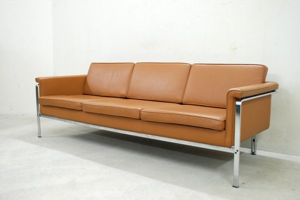 German 6913 Cognac Leather Sofa By Horst Brüning For Kill International 1960s 1