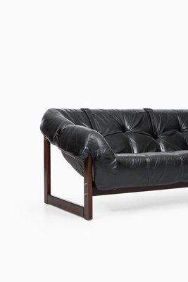 Black Leather Sofa By Percival Lafer For Lafer MP, 1950s