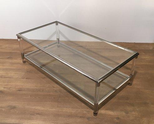 Vintage Chrome And Plexiglass Coffee Table 2