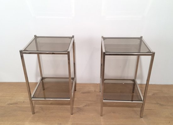 Vintage Metal And Gl Side Tables