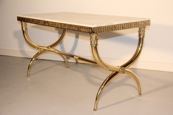 Italian Mid Century Brass And Marble Coffee Table, 1950s