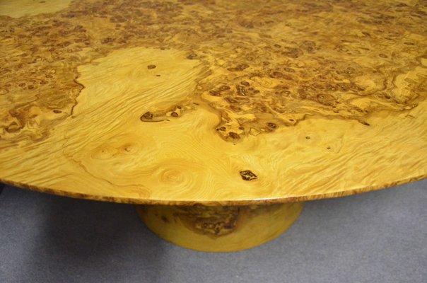 Art Deco Round Olive U0026 Burl Wood Table, ...