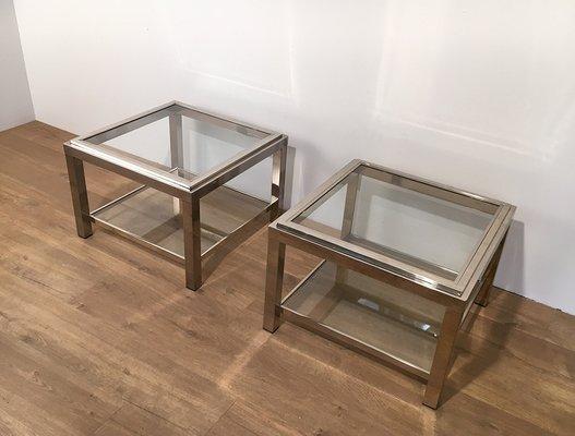 Vintage Chrome Coffee Tables Set Of 2