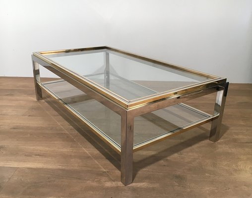Vintage Glass U0026 Brass Coffee Table By Willy Rizzo, ...