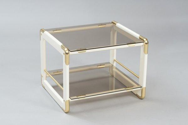 Italienischer Vintage Beistelltisch Aus Holz Messing Glas Bei