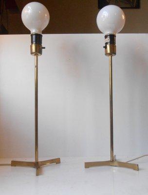 Scandinavian Modern Brass Tri Stand Table Lamps With Jumbo Bulbs, 1960s,  Set Of