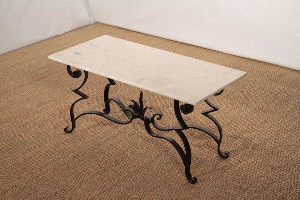 Table Basse En Marbre Et En Fer Forge En Vente Sur Pamono