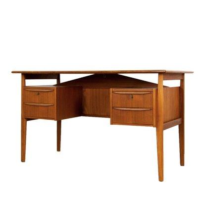 Mid Century Danish Teak Desk With Drawers By Gunnar Nielsen Tibergaard 1