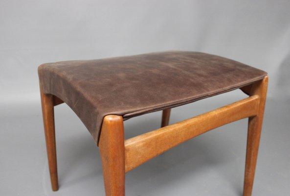 Sgabello in legno e pelle danimarca anni in vendita su pamono